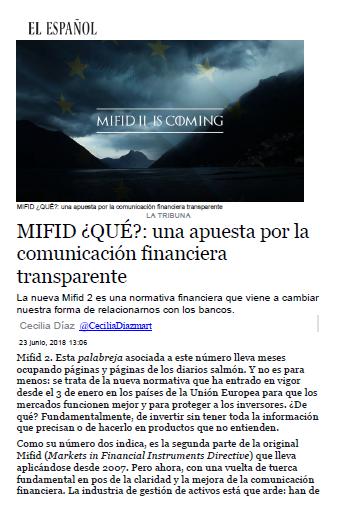 Cecilia Diaz escribe en el español sobre MIFID