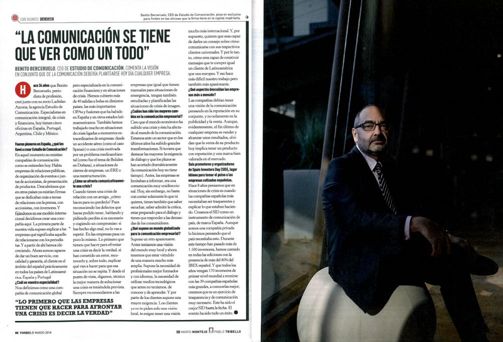 Estudio de Comunicación - Entrevista a Benito Berceruelo en Forbes