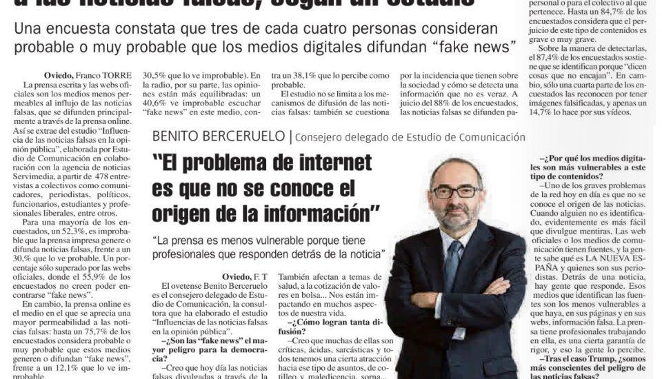 Benito Berceruelo entrevista en La Nueva España Fake News