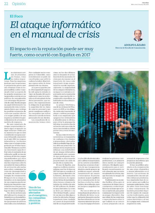 190501CLI-ESTUDIO-Artc.Adolfo Lazaro_Cinco Días-.El ataque informático en el manual de crisisi (002)