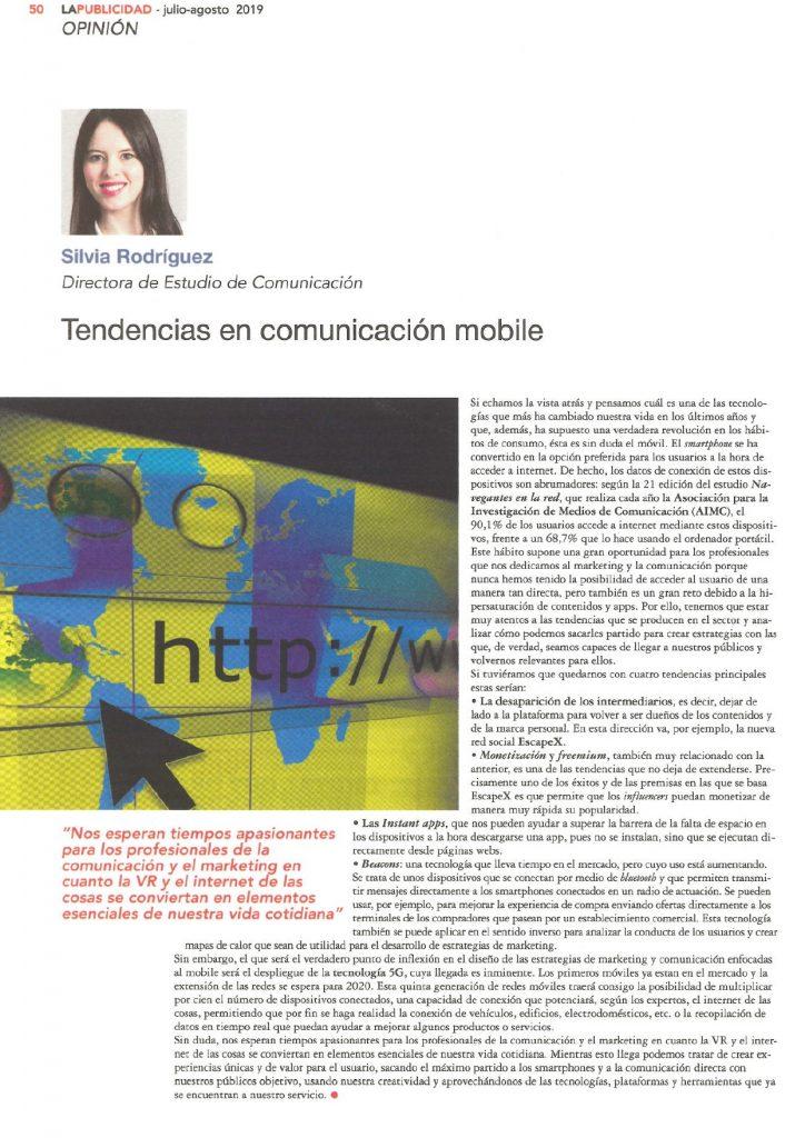 2019JulioAgosto-CLI-ESTUDIO-La Publicidad-Artc. Silvia Rodriguez-Tendencias en comunicación mobile